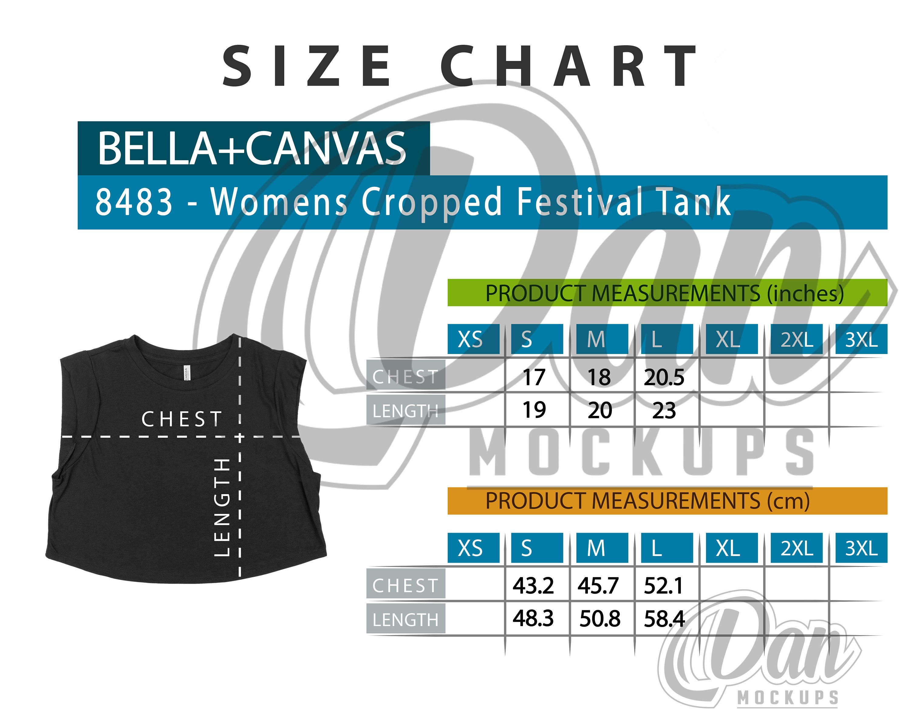 Size Chart Bella Canvas 8483 Women S Cropped Festival Tank Tee Measures Shirt Measures Tee Size Chart Shirt Size By D In 2020 Size Chart Chart Tee Comfort Colors