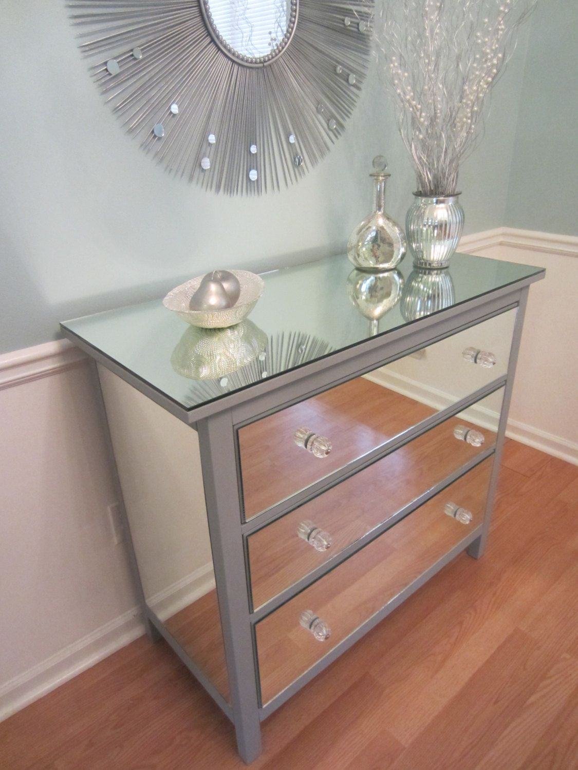 Exceptional Mirrored Dresser Ikea Part - 3: Items Similar To Mirrored Dresser Silver, Upcycled Ikea 3 Drawer Mirror  Dresser On Etsy
