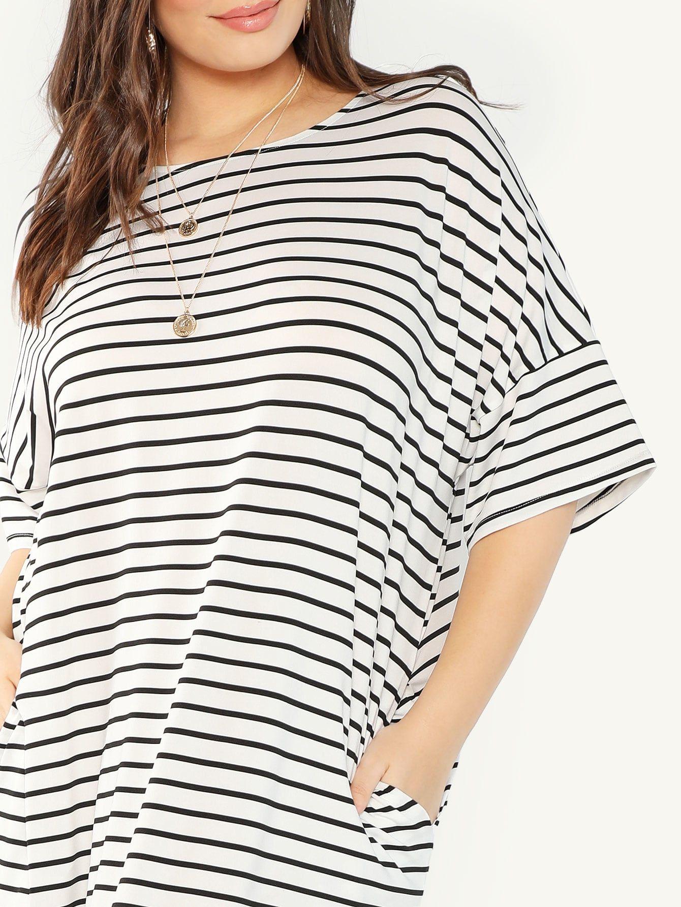 7077cd4e843c Plus Pocket Side Slit Hem Striped Dress -SheIn(Sheinside) | Active ...