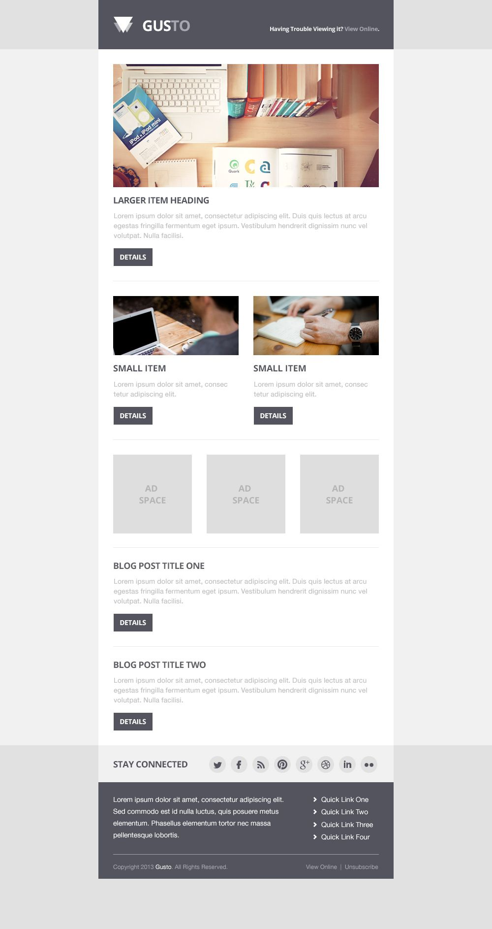 Gusto Email PSD Template | PSD Freebies | Pinterest | Psd ...