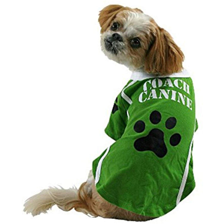Coach canine dog costume green football pet tee halloween