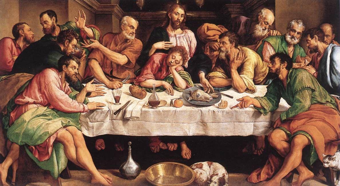 última Cena Jacopo Bassano 1542 Galería Borghese Roma La Ultima Cena Ultima Cena De Jesus Pintura De Jesús