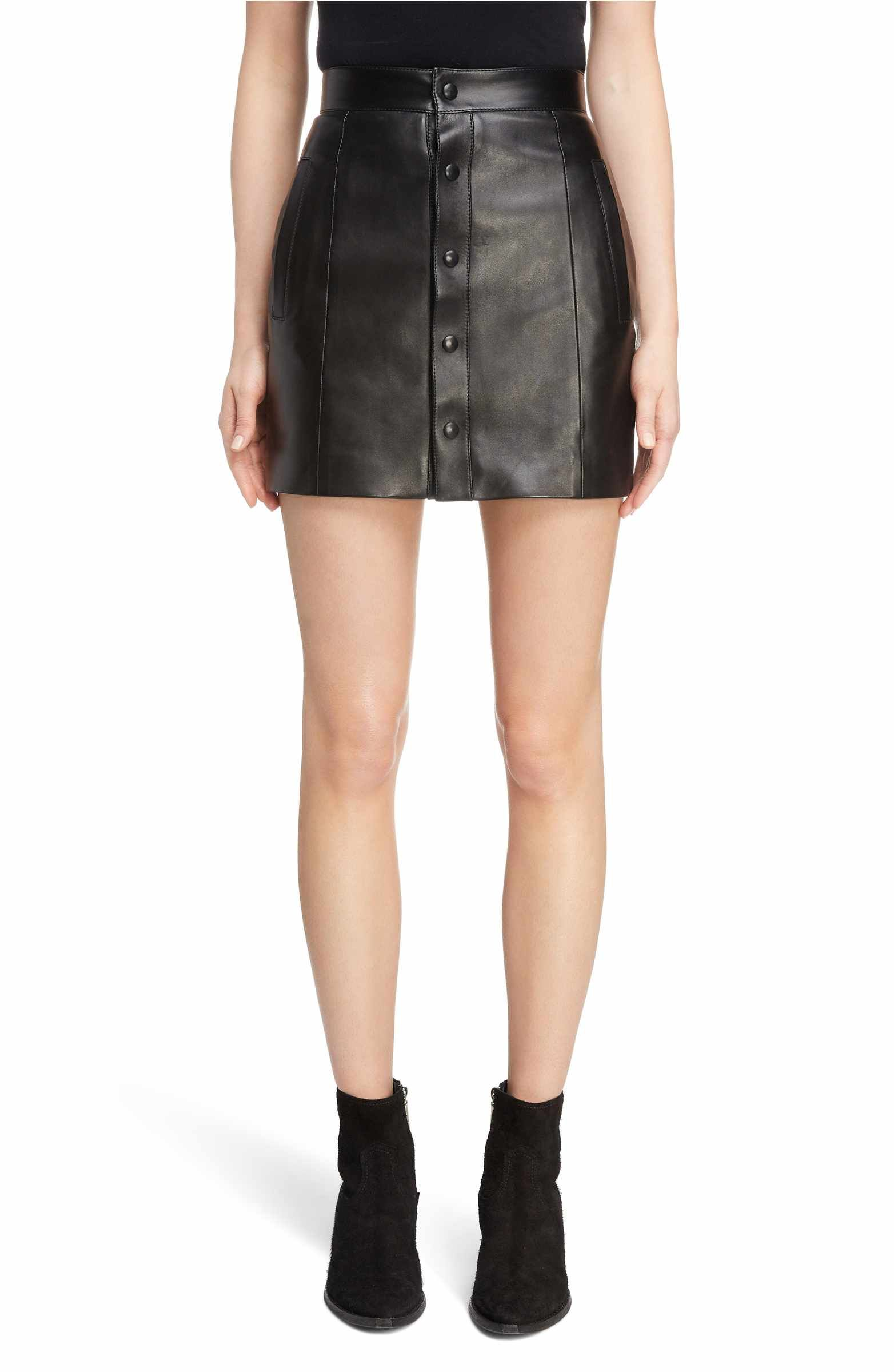 ae34f1776d Women S Fashion Cycling Shorts. Main Image - Saint Laurent Button Front Leather  Skirt