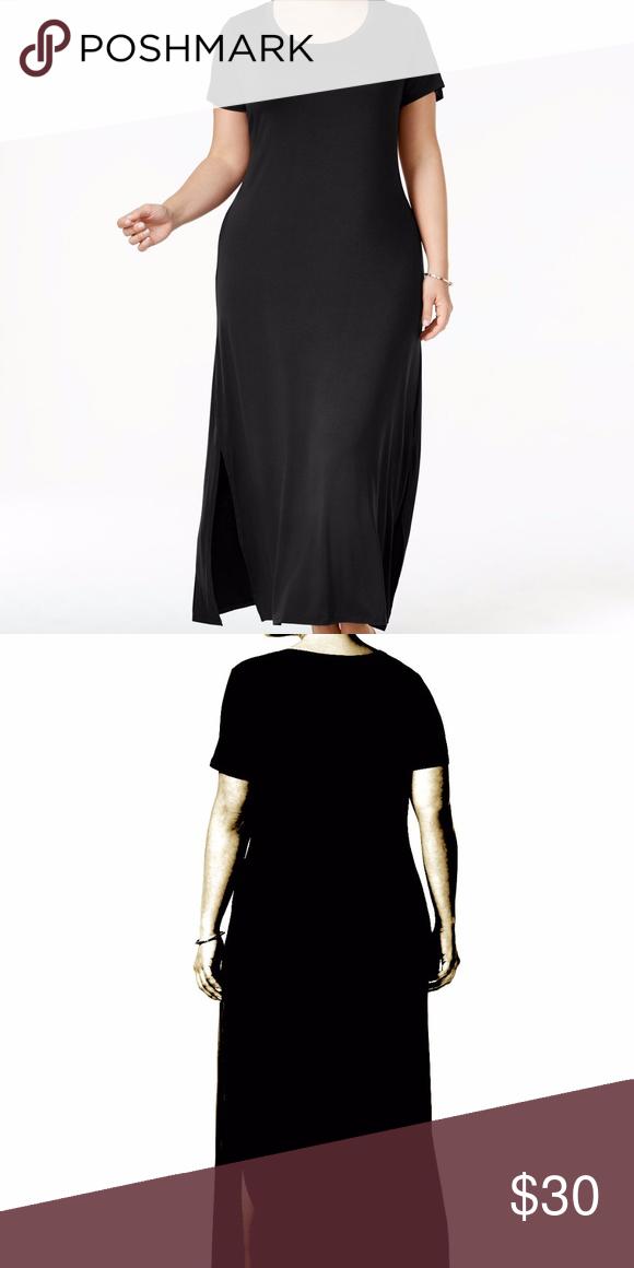 7cb0c658ac3 Style   Co Plus Size 0X T-Shirt Black Maxi Dress Style   Co Plus