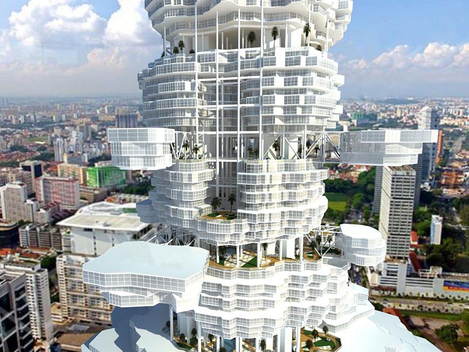 Futuristic Cloud City Skyscraper Bring Dream Of