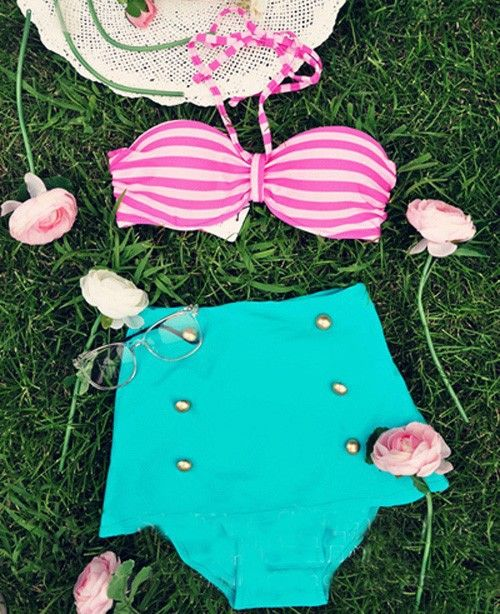 2014 Cutest Retro High Waist Bikini Set Vintage Golden Button Swimsuit Stripes Pin Up Swimwear Free Shipping-in Bikinis Set from Apparel & A...