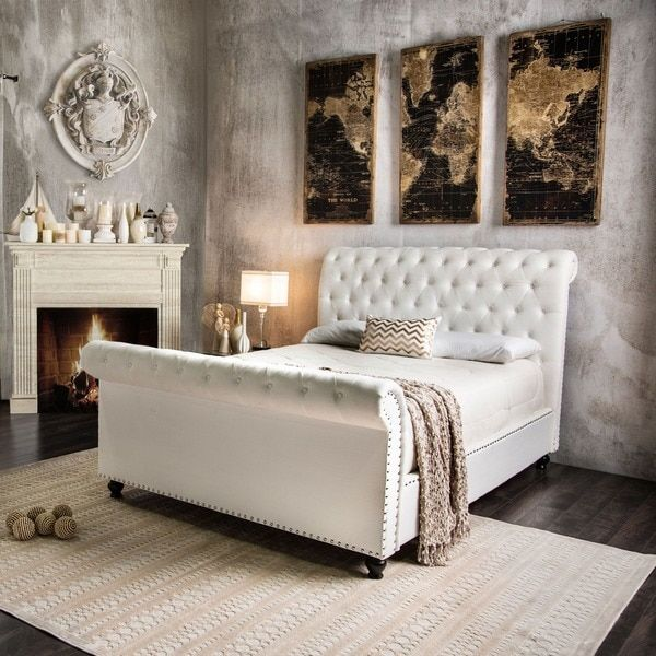 Furniture of America Victor I Button Tufted Sleigh Bed (Brown ...