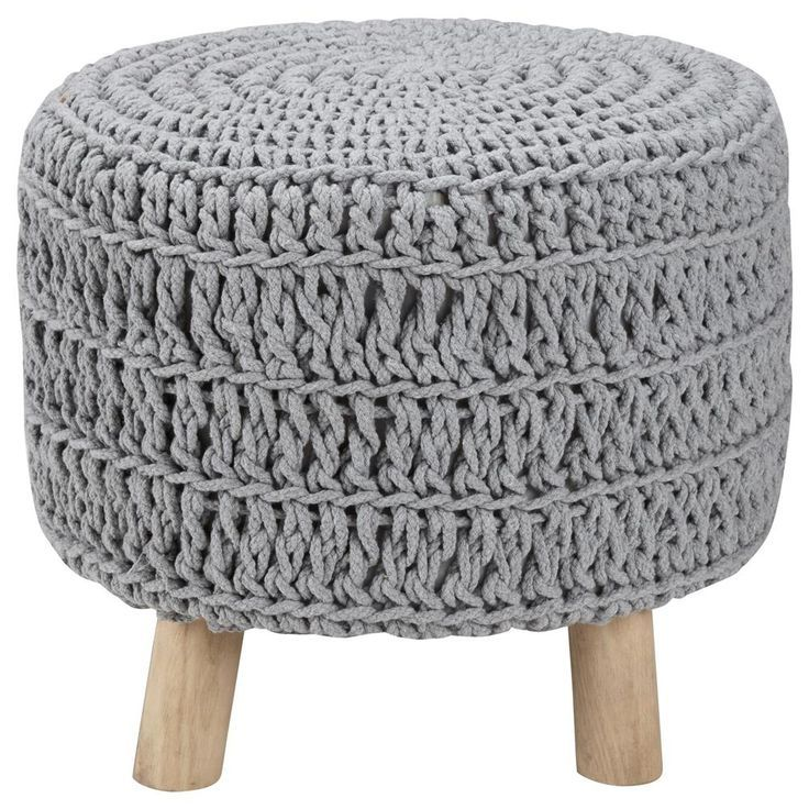 Remarkable Wood And Cotton Knitted Ottoman Hygge Chic Knitted Frankydiablos Diy Chair Ideas Frankydiabloscom
