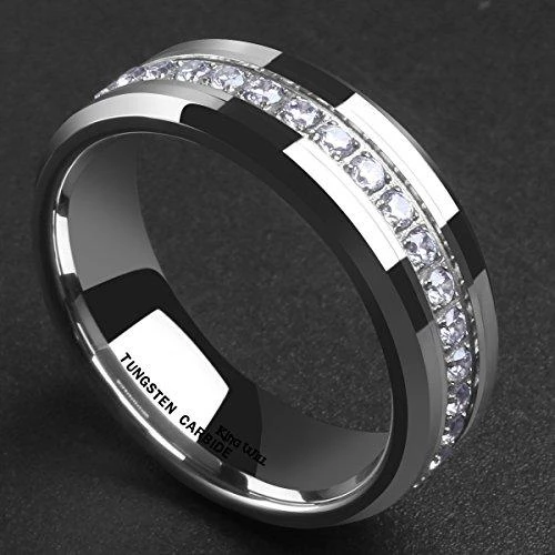 Tungsten Carbide Dome Black Two Tone IP Cubic Zirconia Ring Mens Engraved Rings 5 8mm