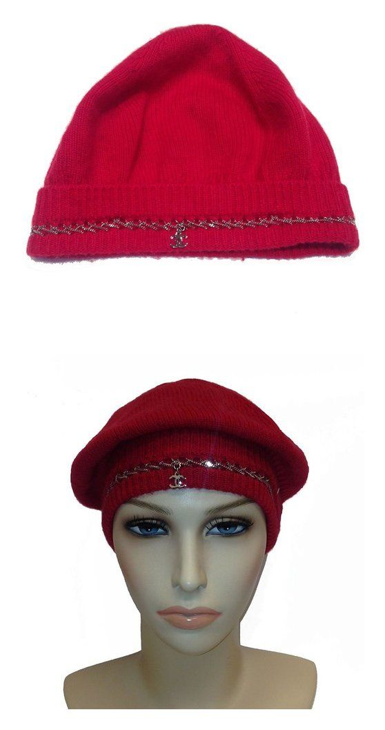 a6f5198ec5d Chanel Cashmere Red Cap with Chain detail and CC Logo  apparel  hat  chanel   berets  shops  women  departments