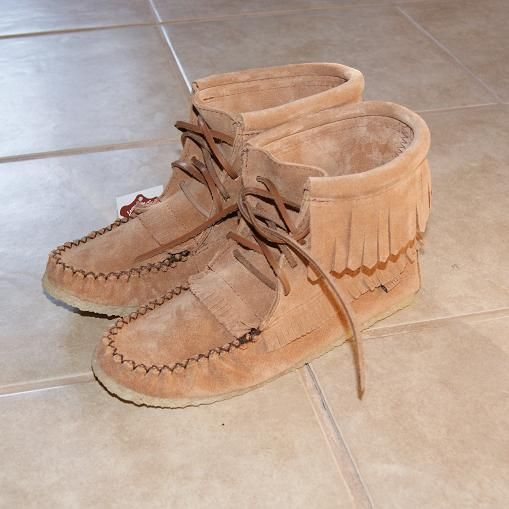 0fe7f533cd57 Women s Native Apache Genuine Suede Moccasin Boots with Stylish Fringe -  137376