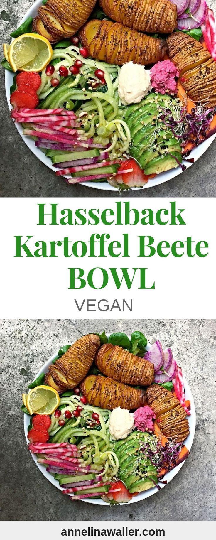 Hasselback Rainbow Beet Bowl #veganerezeptemittag