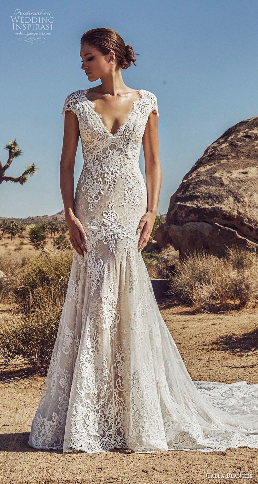Calla Blanche Spring 2019 Wedding Dresses Wedding Inspirasi Wedding Dress Cap Sleeves V Neck Wedding Dress Mermaid Dresses [ 1688 x 900 Pixel ]