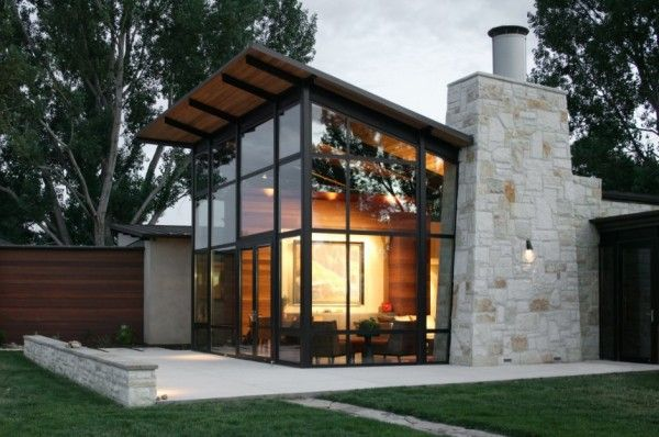 Best Timber And Stone Glass Wall Shed Roof Architecture 400 x 300