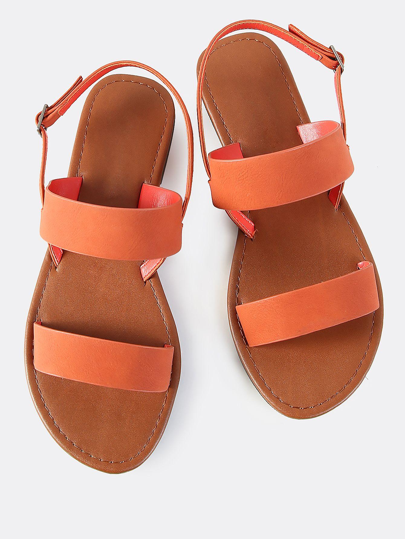 dd4d5786e7bd42 Shop Double Band Faux Leather Sandals BURNT ORANGE online. SheIn offers  Double Band Faux Leather
