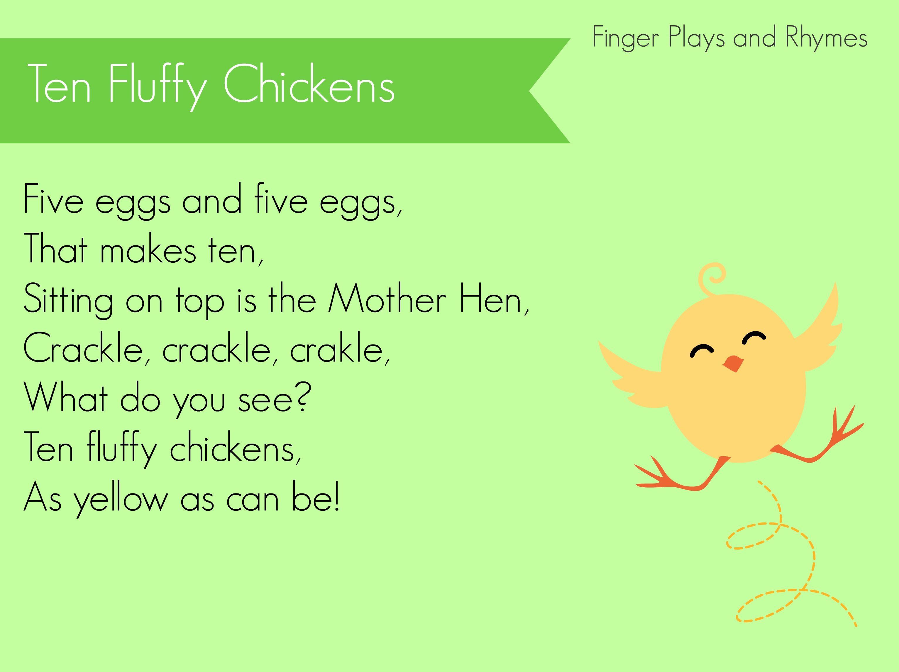 Ten Fluffy Chicks Finger Play for preschoolers | Fingerplays ...