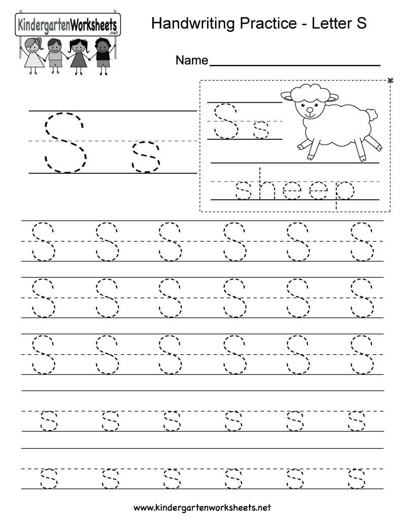 Free letter S writing worksheet This series of handwriting – Free Alphabet Worksheets