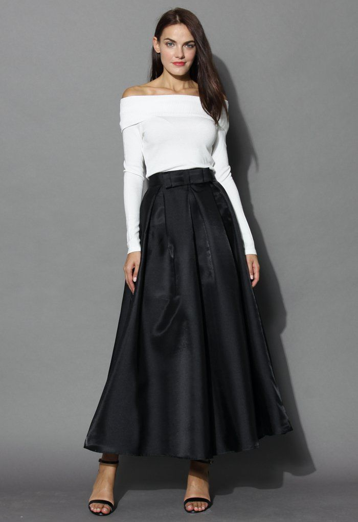 Bowknot Pleated Full Maxi Skirt in Black - Skirt - Bottoms - Retro ...