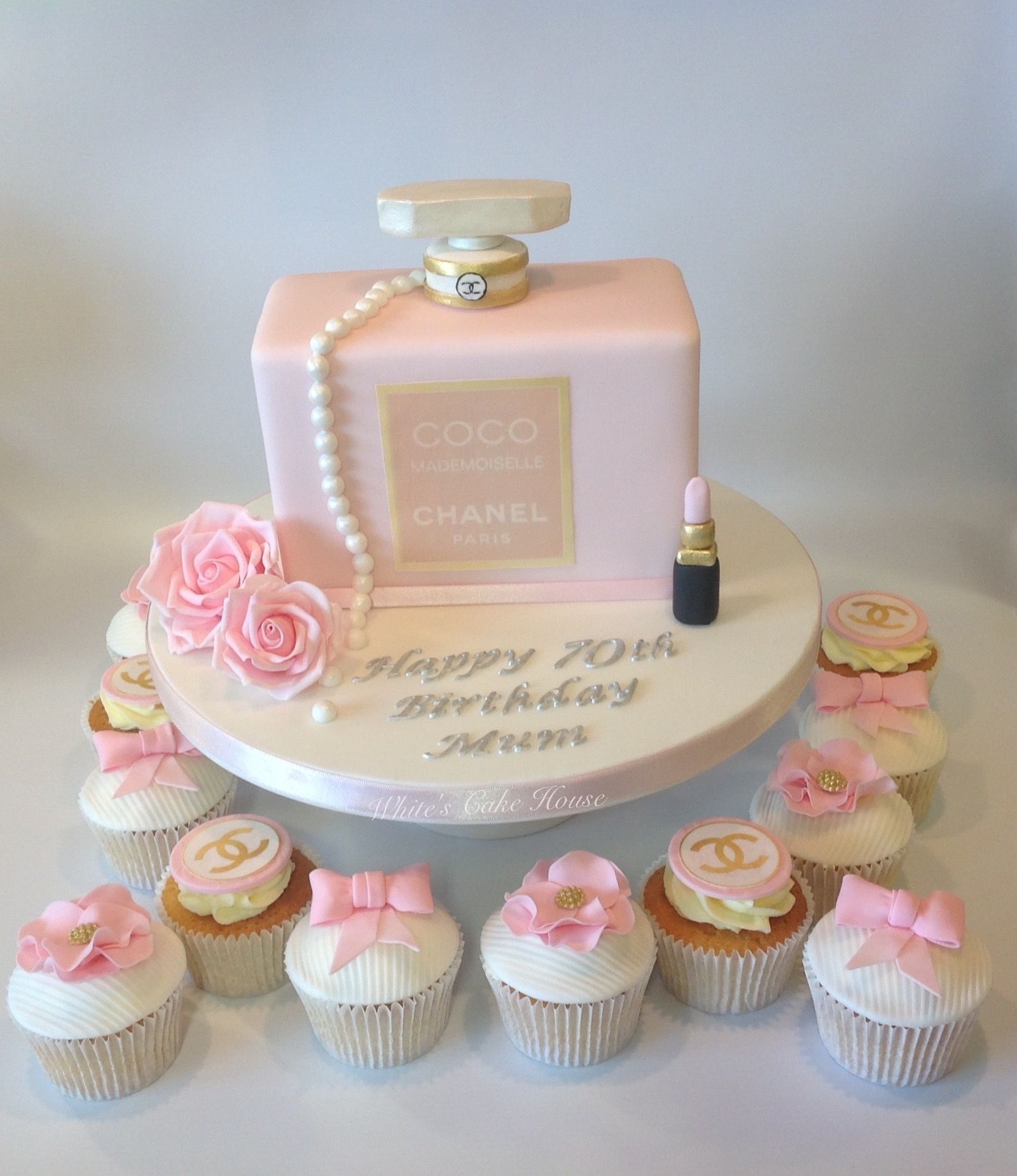Miraculous Chanel Perfume Bottle Birthday Cake With Matching Cupcakes With Funny Birthday Cards Online Necthendildamsfinfo