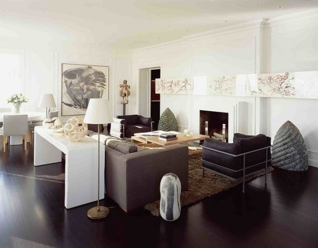 Wohnzimmer Hell Ideen Neutrale Farben Dunkles Holz