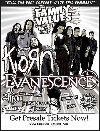 Family Values Tour '07 - KoЯn, Evanescence, Trivium, Hellyeah, Atreyu, Flyleaf