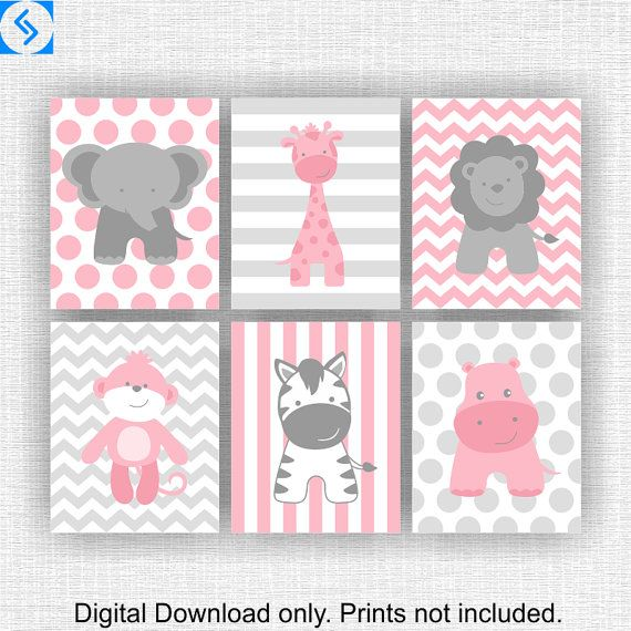 INSTANT DOWNLOAD Pink and Gray Jungle Animals nursery Printable