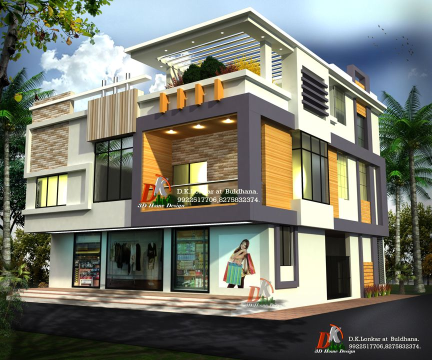 Home Design Exterior Ideas In India: 3d Bungalow With Shop By D K 3d Home Design
