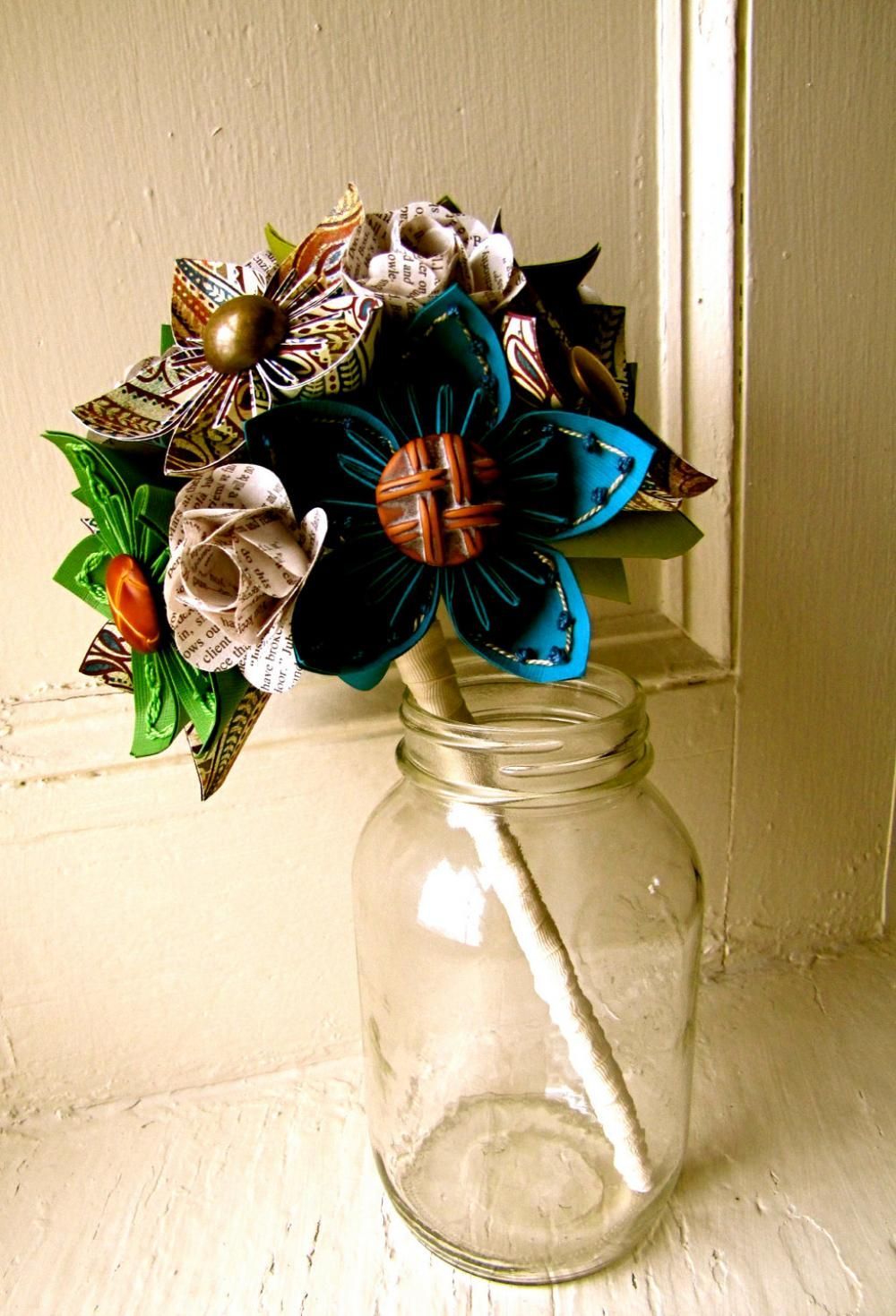 Paper flower wedding bouquet wow these colors are beautiful paper flower wedding bouquet wow these colors are beautiful izmirmasajfo