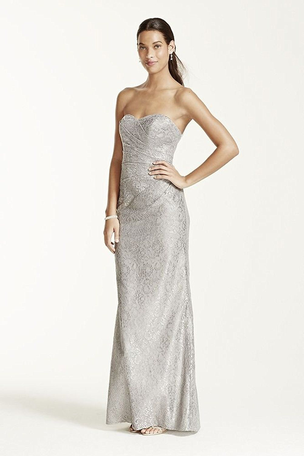 Long strapless metallic lace bridesmaid dress style wm at