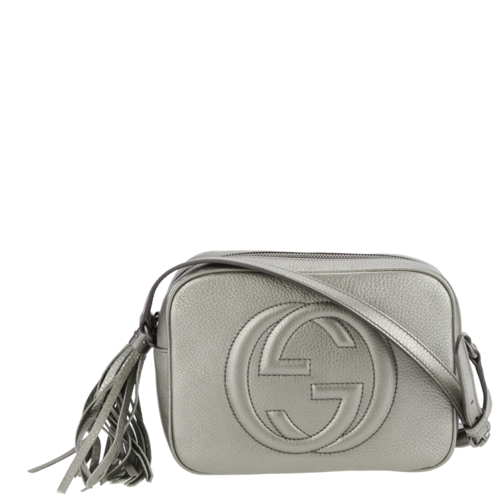 a986cd422b47 Gucci Soho Disco Bag in Metallic silver. Available from www.wunderl.com