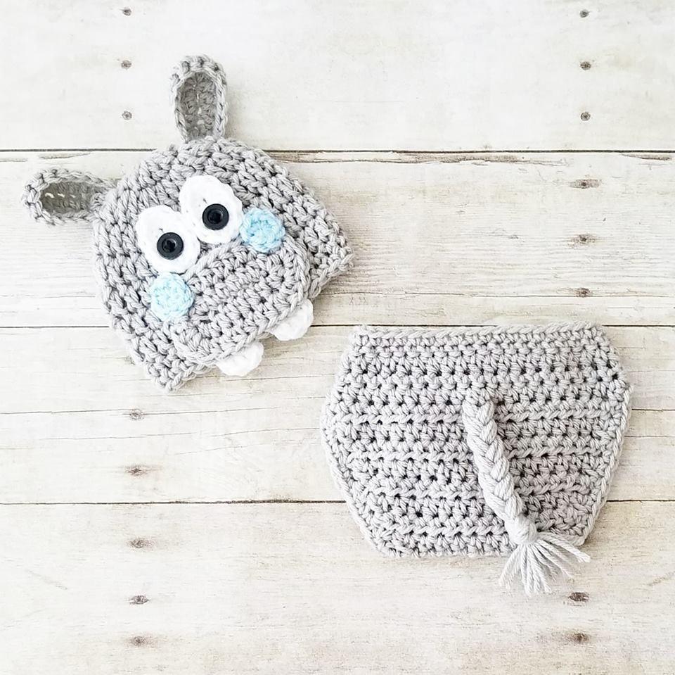 Crochet Baby Hippo Hat Beanie Diaper Cover Set Infant Newborn Baby ...