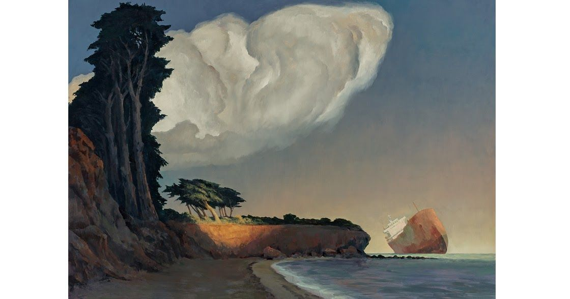 'Memory of a Grounded Ship' (2014)      by Australian painter Rick Amor (b.1948). via pink pagoda studio
