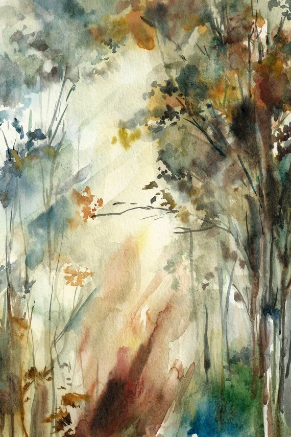 Forest Landscape Watercolor Painting Art Print Fine Art Print from Watercolor Painting Watercolour Wall Art Nature Painting, Trees Painting