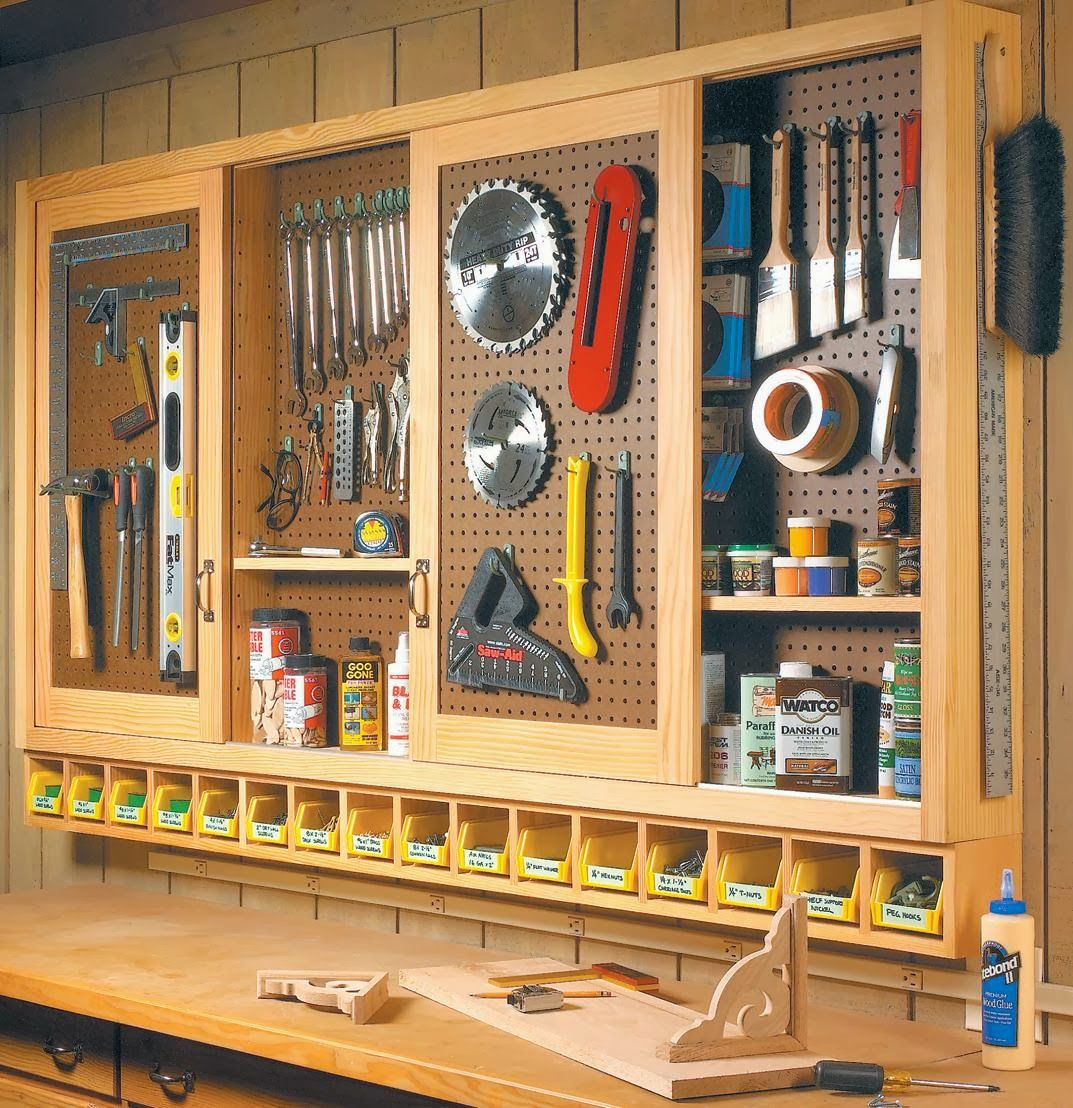 Perfect For Our Workroom Off The Garage Build An Organized Pegboard Tool Cabinet And Simple Workbench Love Little Cubbies Under Hanging