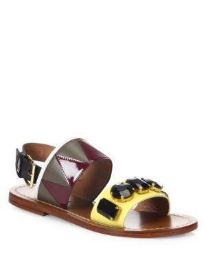 3397baa74 MARNI Jeweled Leather Flat Sandals.  marni  shoes  flats