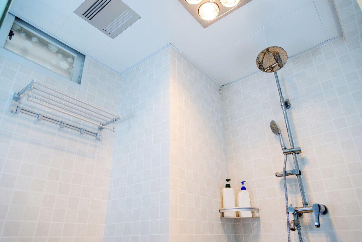 Tiled Shower With Corner Storage Shelf | Renovate Your Bathroom ...