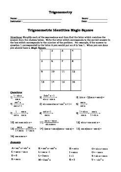 Trigonometry Identity Magic Square Activity | Math Stuff