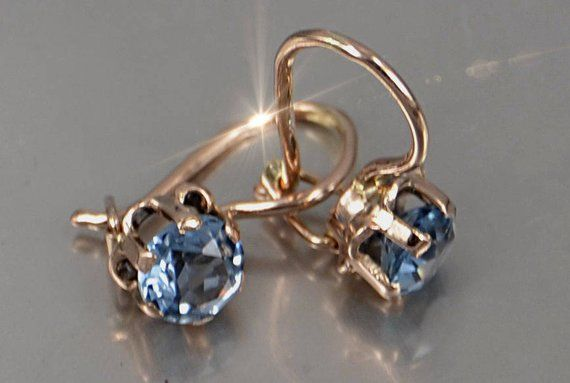 Gold Aquamarine Earrings 14 Kt Rose Gold Earrings 585 Gold Earrings Russian Earrings Russian Gol Russian Jewelry Jewelry Antique Jewelry Indian