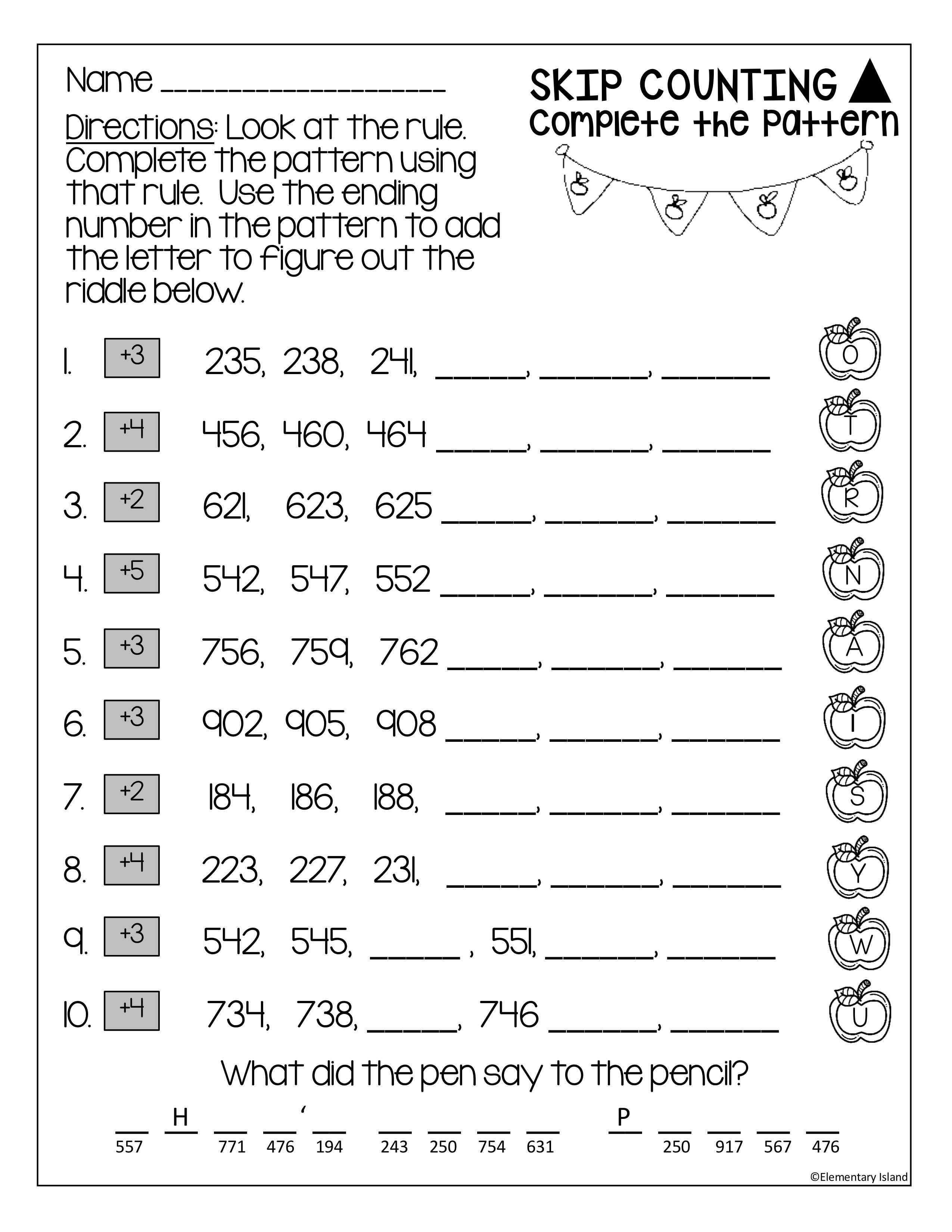 Skip Counting Worksheets 3 Digit