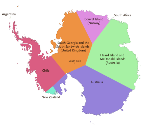 Antarctica divided into regions depending on which country is closest to any given location ...