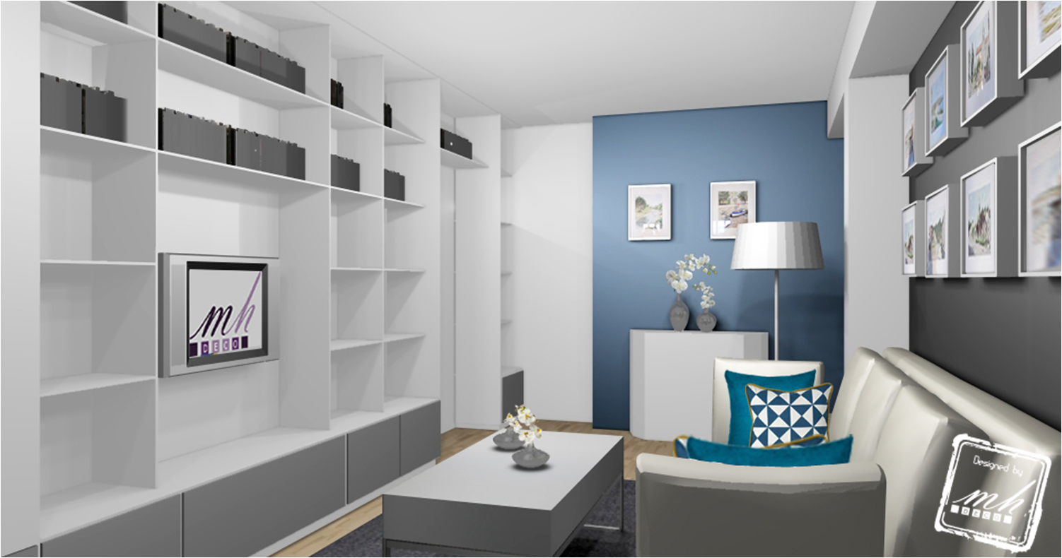 d co int rieur bleu et gris article salon bleu et. Black Bedroom Furniture Sets. Home Design Ideas