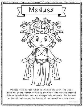 12 Greek Mythology Coloring Page Crafts Or Posters With Sh Greek Mythology Lessons Greek Crafts Greek Mythology Gods