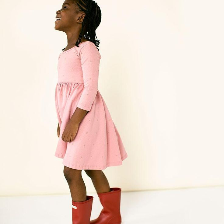 d098c220be23 A sweet little pink dress for girls! Comfortable and so cute ...