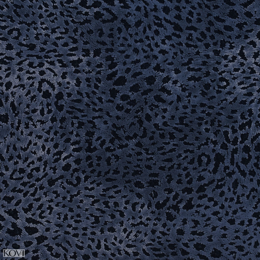 Navy Blue Animal Print Microfiber Drapery And Upholstery Fabric In