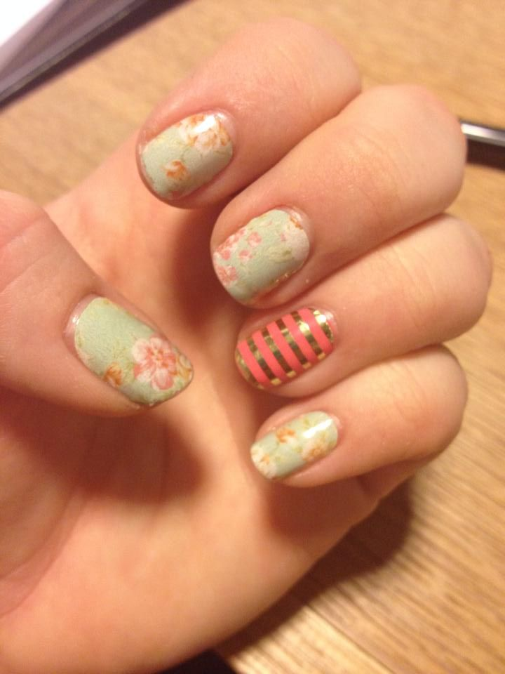 jamberry nails vintage chic and metallic gold pinstripe