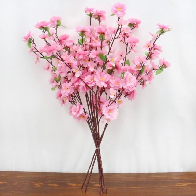 Photo of 55cm New Country Style Artificial Flower Rattan Vase Wedding Hotel DIY Home Decoration Accessorie Cherry Flower Arrangement Vas – 65cm 8 pcs pink