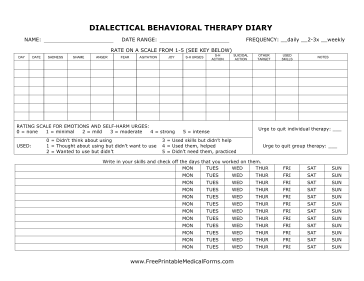For Therapists Providing Patients With A Dialectical Behavioral Therapy Diary Dialectical Behavior Therapy Dbt Diary Card Dbt