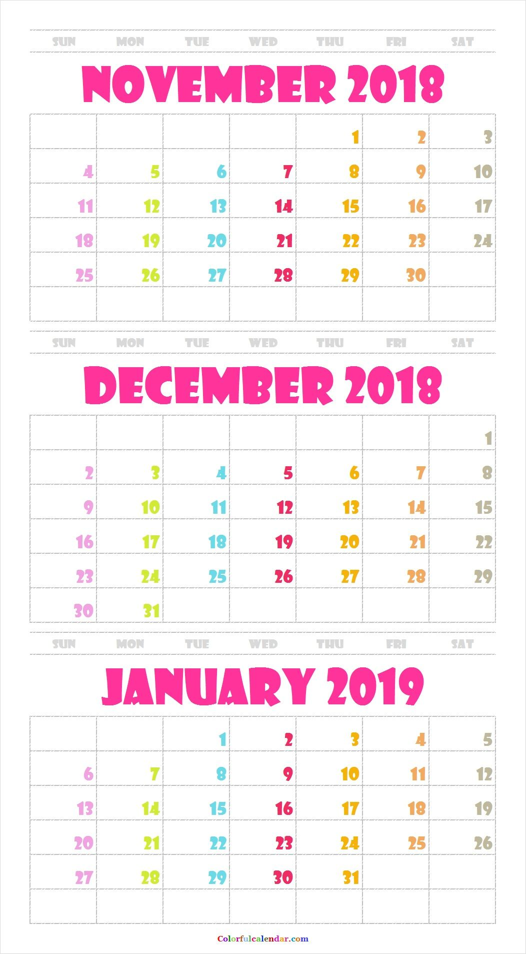 Cute November December 2018 January 2019 Calendar Printable