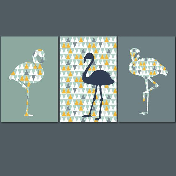 Set of 3 posters with flamingo and scandinavian trend, design lounge