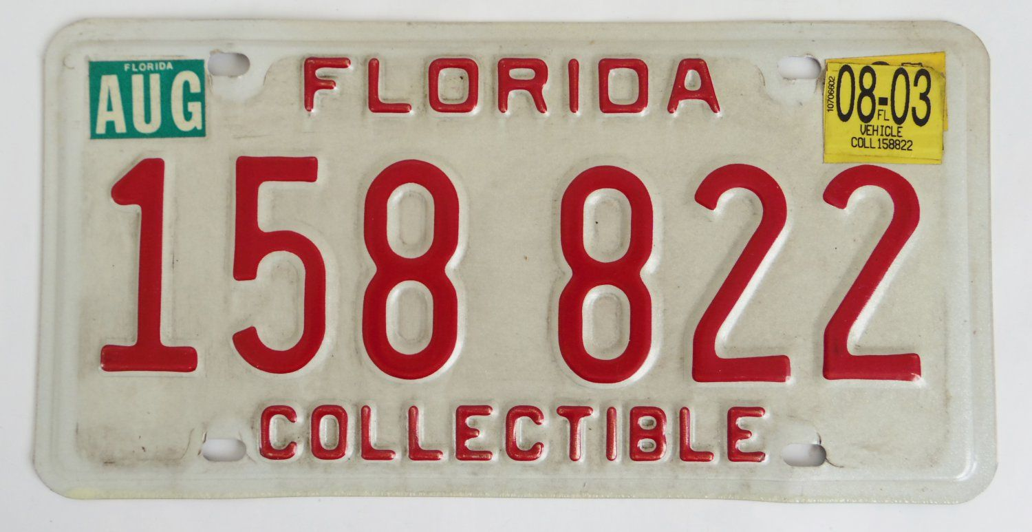 2003+Florida+Collectible+Car+License+Plate+158822 $9.99 free ...